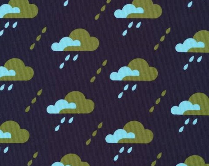 Organic CORDUROY Fabric - Cloud9 Spring Quartet - Droplet Dark Navy