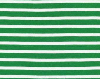 Organic KNIT Fabric - Cloud9 2017 Knits - Colorful Stripes Green