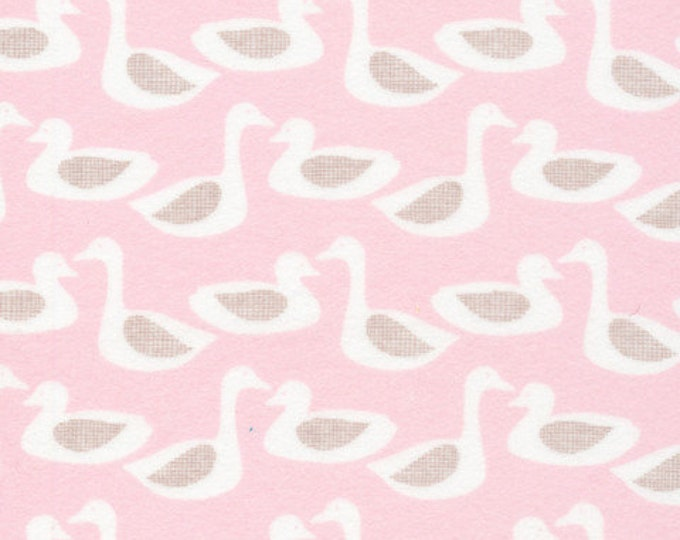 Organic FLANNEL Fabric - Cloud9 Flannel - Ducks Pink