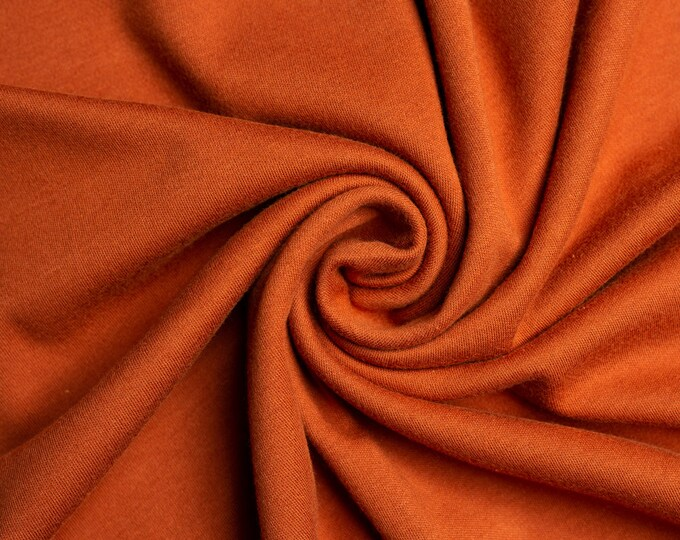 Organic KNIT Fabric - Birch Interlock Knit Soilds - Brick Solid