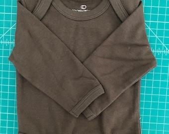 Blank Organic Cotton Baby Bodysuit - Colored Organics Brand Size 3-6 Months - Brown
