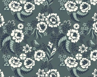 Organic KNIT Fabric - Birch Merryweather - Merry Floral Slate Knit