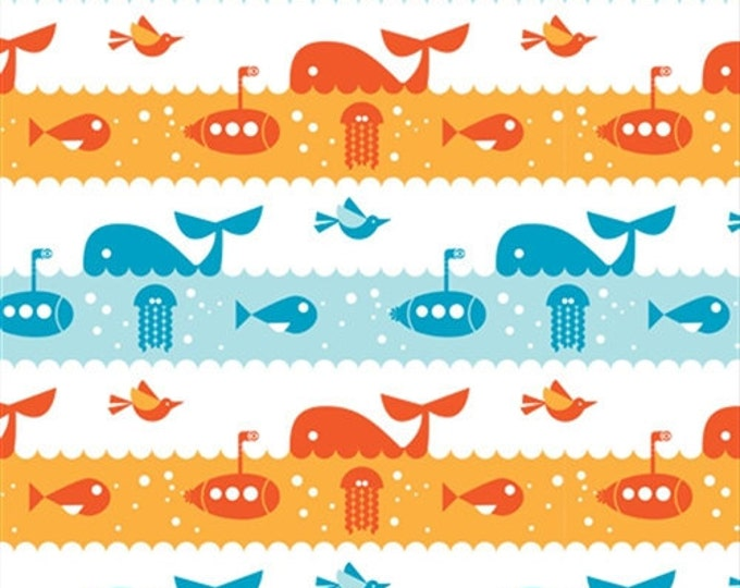 Organic Cotton Fabric - Birch Marine Too Marine Life