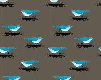 Organic KNIT Fabric - Charley Harper Western Birds - Mountain Blue Bird Knit