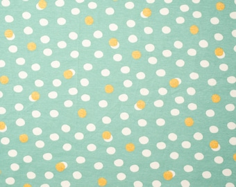 Organic KNIT Fabric - Birch Tonoshi Knit - Mochi Dot Mineral Metallic Gold Interlock Knit - 58 inches wide!