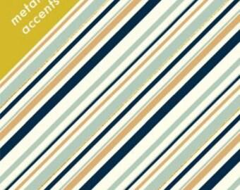 Organic KNIT Fabric - Birch Mod Nouveau Knit - Stripe Mint Metallic Knit