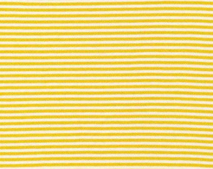 Organic KNIT Fabric - Cloud9 2017 Knits -  Thin Stripes Citron