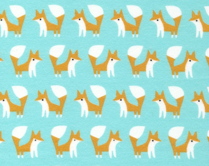 Pre Washed Organic Cotton Flannel Fabric - Cloud9 Fanfare Foxes Blue
