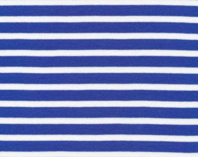 Organic KNIT Fabric - Cloud9 2017 Knits - Colorful Stripes Blue