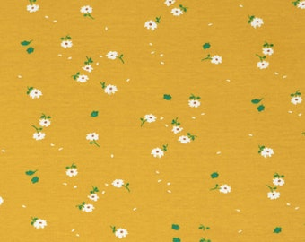 Organic KNIT Fabric - Birch Whistle Knit - Sunny Daisies Knit
