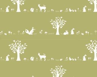 Organic KNIT Fabric - Birch Storyboek - Forest Friends Moss Knit