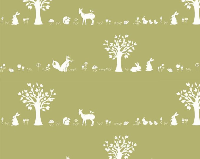 Organic KNIT Fabric - Birch Storyboek - Forest Friends Moss Knit