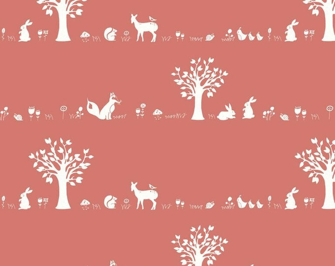 Organic KNIT Fabric - Birch Storyboek - Forest Friends Coral Knit