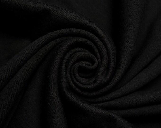 Organic KNIT Fabric - Birch Interlock Knit Soilds - Jet Black Solid