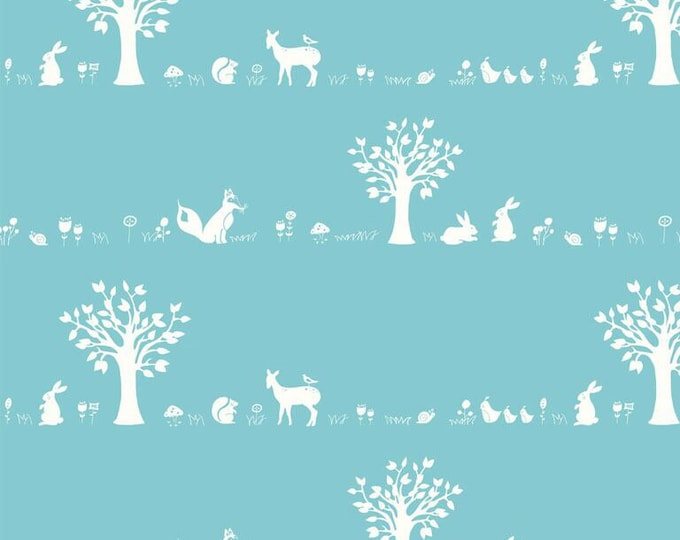 Organic KNIT Fabric - Birch Storyboek - Forest Friends Aqua Knit