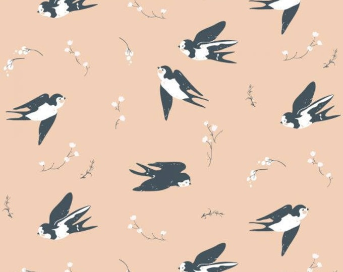 Organic DOUBLE GAUZE Fabric - Birch Little - Happy Swallow Double Gauze