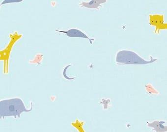 Organic Cotton Fabric - Cloud9 Tout Petit Sheeting - Animal Parade Blue