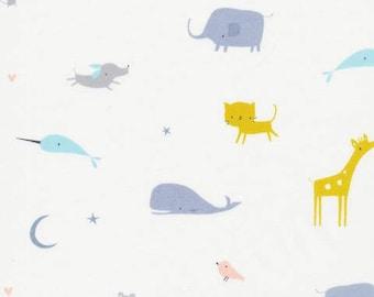Organic Cotton Fabric - Cloud9 Tout Petit Sheeting - Animal Parade White