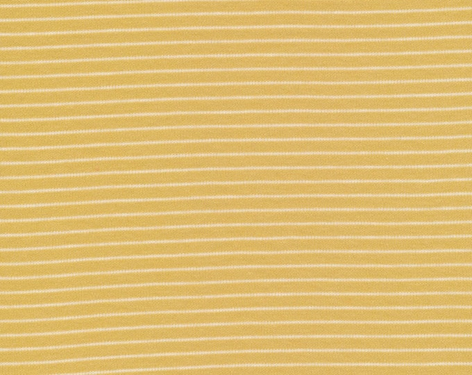 Featured listing image: Organic Knit Fabric - Cloud9 Knits - Little Stripes Gold