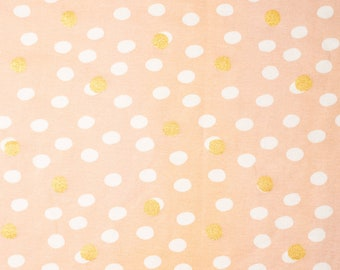 Organic KNIT Fabric - Birch Tonoshi Knit - Mochi Dot Shell Metallic Gold Interlock Knit - 58 inches wide!