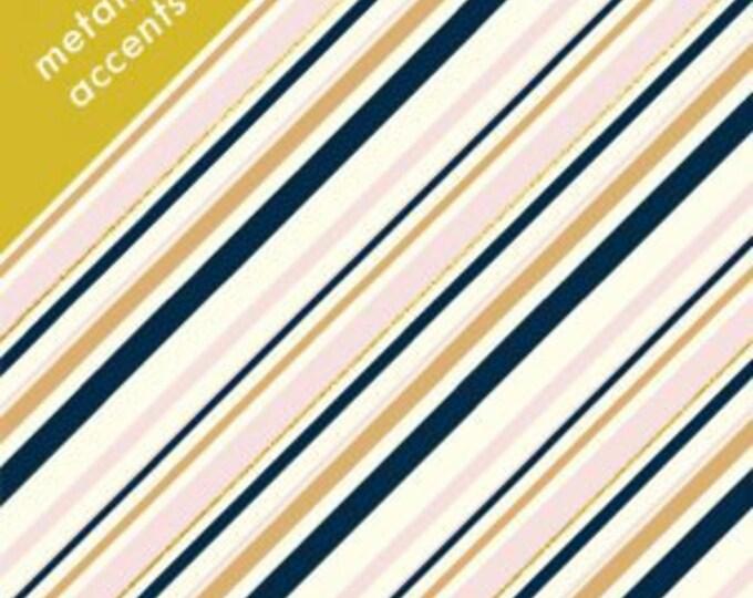 Organic KNIT Fabric - Birch Mod Nouveau Knit - Stripe Blush Metallic Knit