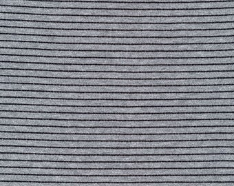 Organic Knit Fabric - Cloud9 Knits - Little Stripes Heather Gray/Black