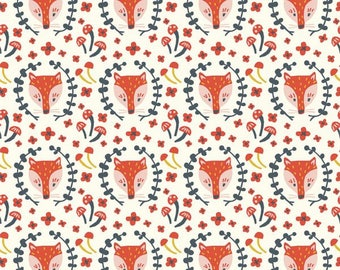 Organic KNIT Fabric - Birch Folkland Knit - Foxy in Cream Knit