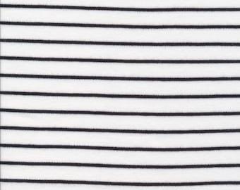 Organic Knit Fabric - Cloud9 Knits -  Stripes White/Black