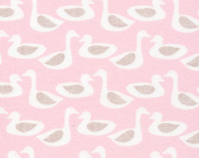 Organic FLANNEL Fabric - Cloud9 Flannel - Ducks Pink