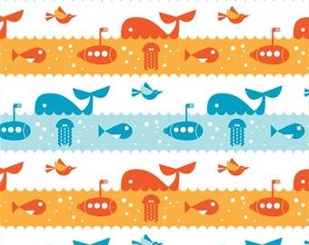Organic Cotton Fabric - Birch Marine Too Marine Life