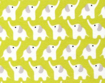 Organic Cotton FLANNEL Fabric - Cloud9 Fanfare Elephants Citron