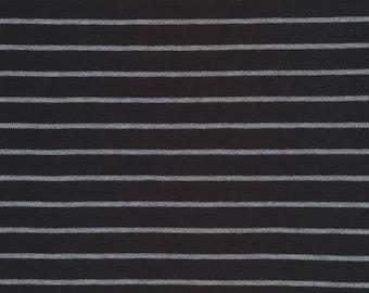 Organic Knit Fabric - Cloud9 Knits -  Stripes Black/Heather Gray