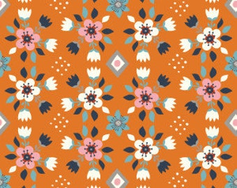 Organic Cotton Fabric - Birch Wildland Poplin - Flowerbed Orange