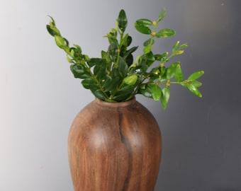 Black walnut weed pot hand-turned