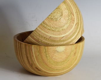 Matched Pair of Small Plywood Serving Bowls, Hand-Turned