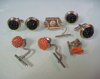 Vintage Cuff LinksCuff Link Sets 6876 12 Pairs Of Cuff Links /& 4 Pairs With Tie Tacks #3