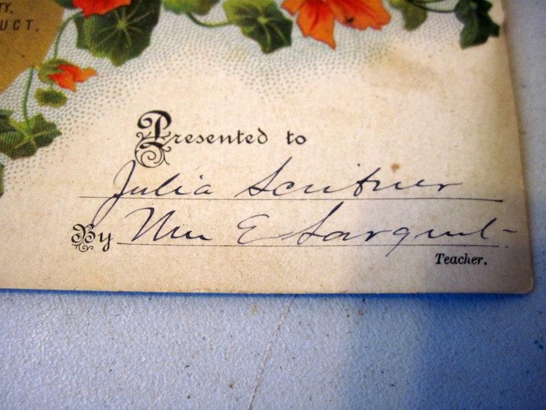 Antique Victorian Edwardian Reward of Merit colored floral certificate