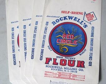 4 Vintage paper Flour Bags Red Circle flour
