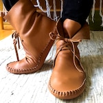 handmade leather moccasins   hi-top moccasins   moccasin boots   caramel brown leather   made to order