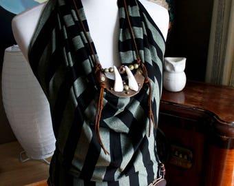 halter tunic dress, drape front, open back, small
