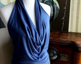 halter tunic dress, drape front, open back, large