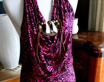 halter tunic dress, drape front, open back, small/medium