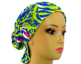 Hair Snood Neon Design Jersey Turban | Teen Adult Volumizer Chemo Headwear | Cancer Patient Hat| Hair Covering | Tichel & Mitpachat Headwrap