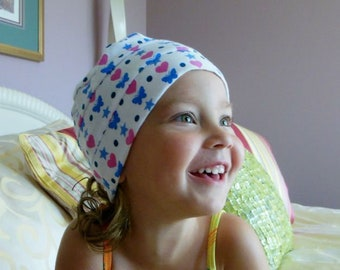Toddler 3Seam Cotton Pink Blue Jersey Chemo Headwear, Small Cancer Patient  Beach Cap
