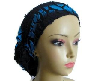 Hair Snood Animal Design Black Blue Overlay Turban Volumizer Chemo Headwear, Tichel