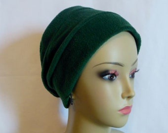 3-seam Green Fleece Turban Chemo Headwear, Cancer Patient Hair Cover Med- Large