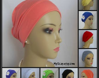3-seam Cotton  Blend Knit Turbans, Volumizing Chemo Headwear, Girl Cancer Patient Hair Covering, Alopecia Cap, Tichel Cap, Med-Lg