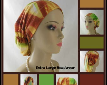 XL  Shades  Green Gold Hair Snood  Headwear, Volumizer Chemo Headwear, Cancer Patient Hat