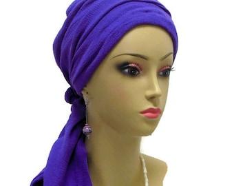 Purple Gauze Scarf Turban Volumizer Chemo Headwear Cancer Patient Hat, Beach CoverTichel