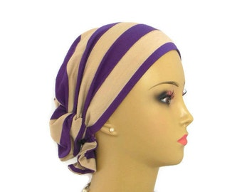 Hair Snood Purple & Taupe Stripe Jersey Turban, Volumizer Chemo Headwear, Cancer Patient Hat, Tichel Mitpachat Hair Cover, Beach Cap Reg-XL